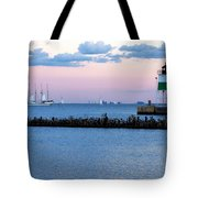 Southeast Guidewall Lighthouse At Sunset And Tall Ship Windy Tote Bag