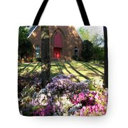 Southern Church In Bloom Tote Bag