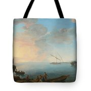 Southern Mediterranean Seascape With Boats And Figures At Sunset Tote Bag