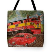 Southern Pacific Train 1951 Kaiser Frazer Car Rr Crossing Tote Bag