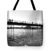 Southport Pier Across The Marine Lake Bw Tote Bag