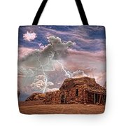 Southwest Navajo Rock House And Lightning Strikes Hdr Tote Bag
