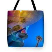 Space Needle And Emp In Perspective Hdr Tote Bag