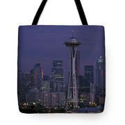 Space Needle At Twilight Tote Bag