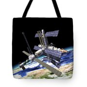 Space Station In Orbit Around Earth Tote Bag