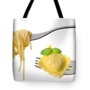 Spaghetti And Ravioli On Forks White Background Tote Bag