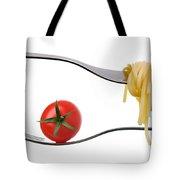 Spaghetti And Tomato On Fork White Background Tote Bag