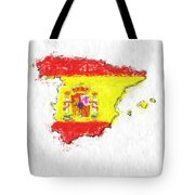 Spain Painted Flag Map Tote Bag