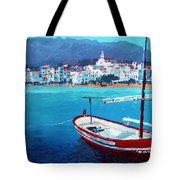 Spain Series 08 Cadaques Red Boat Tote Bag