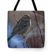 Sparrow In A Weave Tote Bag