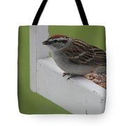 Sparrow On Feeder Tote Bag