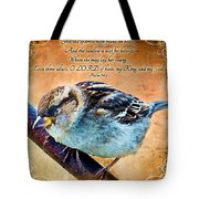 Sparrow With Verse And Painted Effect Tote Bag
