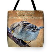 Sparrow With Verse Tote Bag