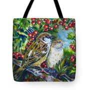 Sparrows On The Hawthorn Tote Bag