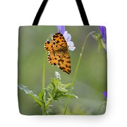 Speckled Yellow Moth On Pansy Wild Flower Tote Bag