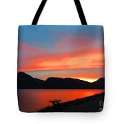 Spectacular Sunset On The Lake. Yellowstone. Tote Bag