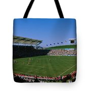 Spectators Watching A Soccer Match, Usa Tote Bag