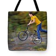Speed - Monika Hinz Doing A Wheelie On Her Bmx Flatland Bike Tote Bag
