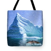 Sperm Whale Fluke In Front Of Iceberg Tote Bag