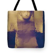 Sphinx Statue Blue Yellow And Lavender Usa Tote Bag