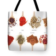 Spices Collection On Spoons Tote Bag