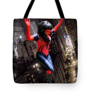 Spider Gal Leaping Tote Bag