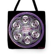 Spinning Celtic Skulls In Purple Tote Bag