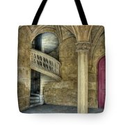Spiral Stairway And Red Door Tote Bag