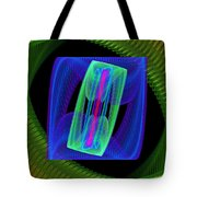 Spiral Vortex Green And Blue Fractal Flame Tote Bag