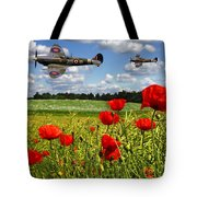 Spitfires And Poppy Field Tote Bag