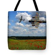Spitfires Lancaster And Poppy Field Tote Bag