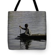 Splashing In The Water Caused Due To Kashmiri Man Rowing A Small Boat Tote Bag