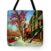 Splendor And Colors Of Quebec Winters Verdun Montreal Urban Street Scene Carole Spandau Tote Bag