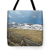 Split Rail Fence On East Side Of Trail Ridge Road In Rocky Mountain National Park-colorado Tote Bag