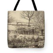 Split Rail Winter Sepia Tote Bag