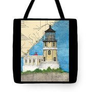 Split Rock Lighthouse Mn Nautical Chart Map Art Tote Bag