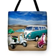 Splitty Vw Beetle And Scooters Tote Bag