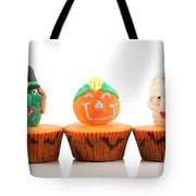 Spooks Cup Cakes On White Background Tote Bag