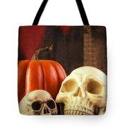 Spooky Halloween Skulls Tote Bag by Edward Fielding