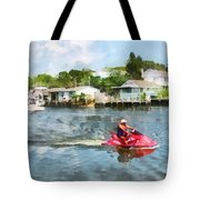 Sports - Man On Jet Ski Tote Bag