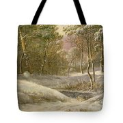 Sportsmen In A Winter Forest Tote Bag