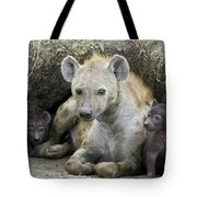 Spotted Hyena Mother And Pups Tote Bag