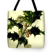 Sprig Of Holly With Berries And Flowers Vintage Poster Tote Bag