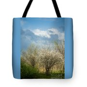 Spring Blossoms Storm Approaching Tote Bag