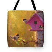 Spring Chickadees 1 - Birdhouse And Birch Forest Tote Bag