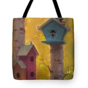Spring Chickadees 2 - Birdhouse And Birch Forest Tote Bag
