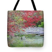 Spring Color Over Japanese Garden Bridge Tote Bag