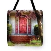 Spring - Door - Westfield Nj - Pink Tote Bag by Mike Savad