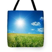 Spring Field With Flowers And Blue Sky Tote Bag