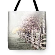 Spring Landscape With Fence Tote Bag